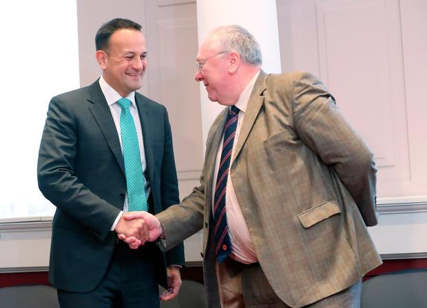 Taoiseach Leo Varadkar (left) meets with the Grand Secretary of the Orange Lodge, Reverend Mervyn Gibson. Photo: Niall Carson/PA Wire