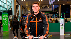 Colm Begley arrives at Dublin Airport prior to departure on the GAA GPA PwC All-Stars tour to Philadelphia. Photo: David Fitzgerald/Sportsfile