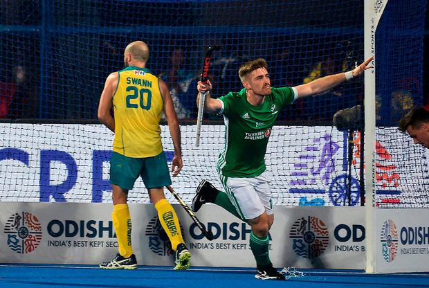 Shane O'Donoghue of Ireland celebrates after scoring during the FIH Men's Hockey World Cup Pool B match between Australia and Ireland at Kalinga Stadium on November 30, 2018 in Bhubaneswar, India. (Photo by Charles McQuillan/Getty Images for FIH)