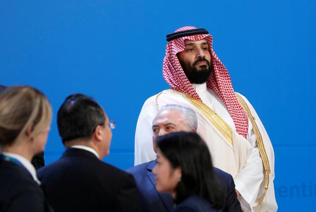 Saudi Crown Prince Mohammed bin Salman looks out as leaders arrive for a family photo at the G20 in Buenos Aires, Argentina November 30, 2018. REUTERS/Kevin Lamarque