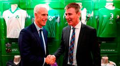 Ireland manager Mick McCarthy with his nominated successor and current Ireland U-21 boss Stephen Kenny at the Printworks, Dublin Castle ahead of tomorrow's Euro 2020 draw. Photo: Stephen McCarthy/Sportsfile