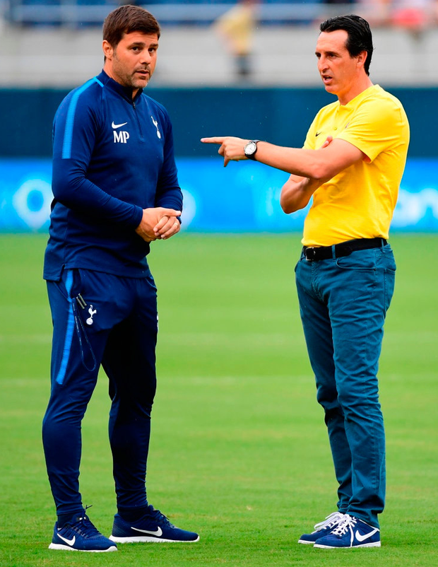 When current Arsenal boss Unai Emery left Valencia in 2012 he recommended that Mauricio Pochettino (L) succeed him, only for the current Spurs boss to turn down the job.
