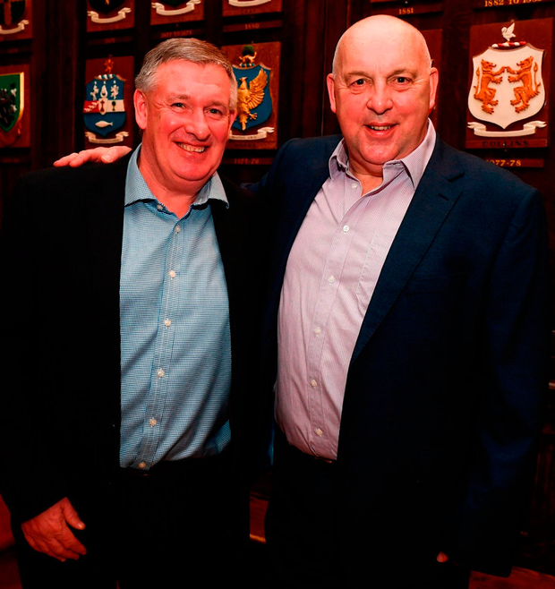 Kevin Sheedy, left, and Tony Galvin. Photo: Stephen McCarthy/Sportsfile