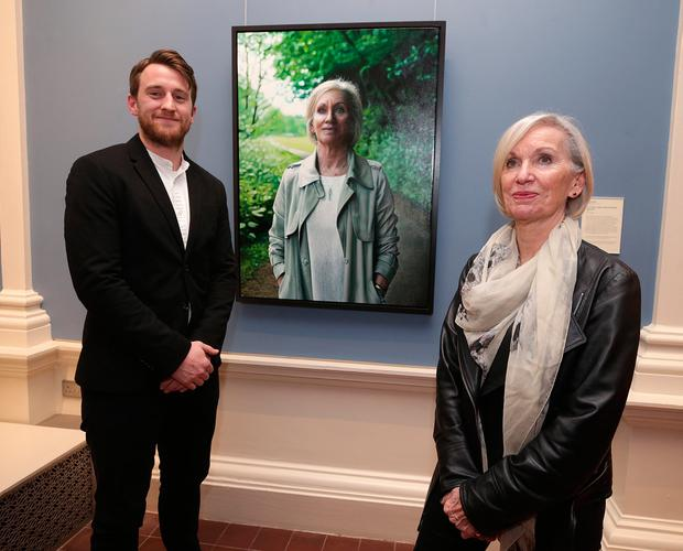 Public figure: Artist Jack Hickey, from Cork and Professor Marie Cassidy at the unveiling of the portrait at the National Gallery of Ireland. Photo: Damien Eagers