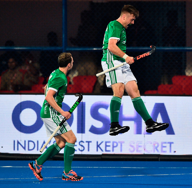 Shane O'Donoghue of Ireland celebrates after scoring during the FIH Men's Hockey World Cup Pool B match between Australia and Ireland at Kalinga Stadium on November 30, 2018 in Bhubaneswar, India. Photo: Charles McQuillan/Getty Images for FIH