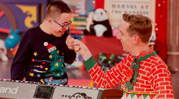 Leo Javaherian aged 12 from Naas, Co. Kildare with Ryan Tubridy on The Late Late Toy Show 2018. Picture Andres Poveda / RTE