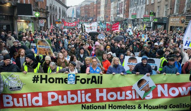 Thousands attend the Home For All rally on Dame Street Photo: Tony Gavin