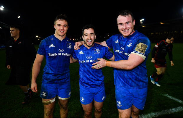 1 December 2018; Scott Penny, left, Patrick Patterson, centre, and Peter Dooley of Leinster following the Guinness PRO14 Round 10 match between Dragons and Leinster at Rodney Parade in Newport, Wales. Photo by Ramsey Cardy/Sportsfile