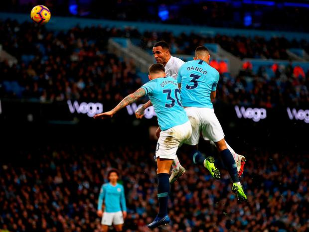 Callum Wilson of Bournemouth heads home his side's only goal against Manchester City. Photo: Clive Brunskill. Photo: Clive Brunskill/Getty Images