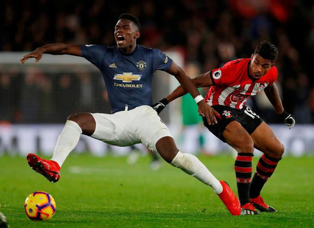 Manchester United's Paul Pogba in action with Southampton's Mario Lemina. Photo: Matthew Childs/Action Images via Reuters