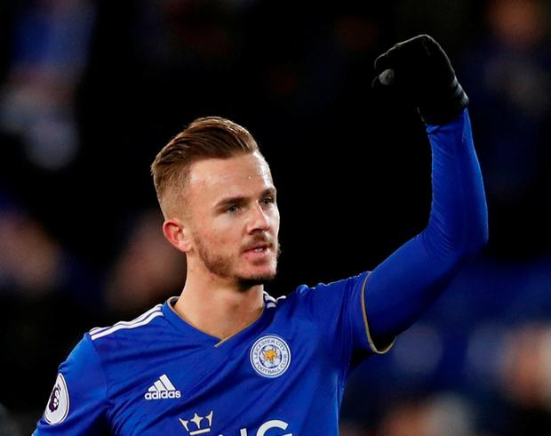Leicester City's James Maddison celebrates after the match. Photo: Paul Childs/Action Images via Reuters