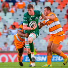 1 December 2018; Gavin Thornbury of Connacht is tackled by Erich de Jager of Toyota Cheetahs during the Guinness PRO14 Round 10 match between Toyota Cheetahs and Connacht at Toyota Stadium in Bloemfontein, South Africa. Photo by Frikkie Kapp/Sportsfile
