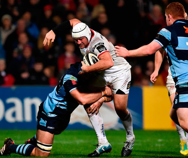 Rory Best of Ulster is tackled by Josh Turnbull of Cardiff Blues. Photo: Oliver McVeigh/Sportsfile