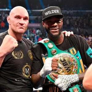 Deontay Wilder and Tyson Fury during the WBC Heavyweight Championship bout at the Staples Center in Los Angeles. Lionel Hahn/PA Wire