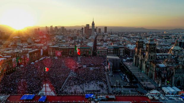 Aerial view of the Zocalo square during AMLO Fest to celebrate Mexico's new President Andres Manuel Lopez Obrador in Mexico City, Mexico December 1, 2018. Picture taken December 1, 2018. REUTERS/Dronebase