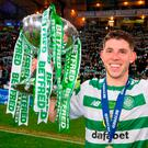 Celtic's Ryan Christie lifts the cup during the Betfred Cup Final match at Hampden Park, Glasgow. Sunday December 2, 2018. Jeff Holmes/PA Wire.
