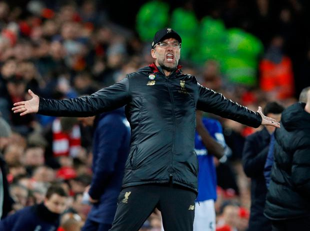 Soccer Football - Premier League - Liverpool v Everton - Anfield, Liverpool, Britain - December 2, 2018 Liverpool manager Juergen Klopp reacts REUTERS/Phil Noble