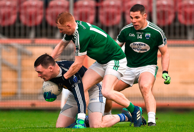 Rory Beggan of Scotstown in action against James Carroll and Kevin Cassidy of Gaoth Dobhair. Photo by Oliver McVeigh/Sportsfile