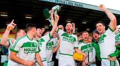 Michael Fennelly and his Ballyhale team-mates celebrate after winning yesterday's AIB Leinster Club SHC final. Photo: Piaras Ó Mídheach/Sportsfile