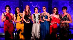 Dublin players, from left, Lyndsey Davey, Sinéad Goldrick, Ciara Trant, Sinéad Aherne, Lauren Magee, Noelle Healy and Siobhán McGrath with their TG4 All Star awards at the CityWest Hotel on Saturday night. Photo: Brendan Moran/Sportsfile