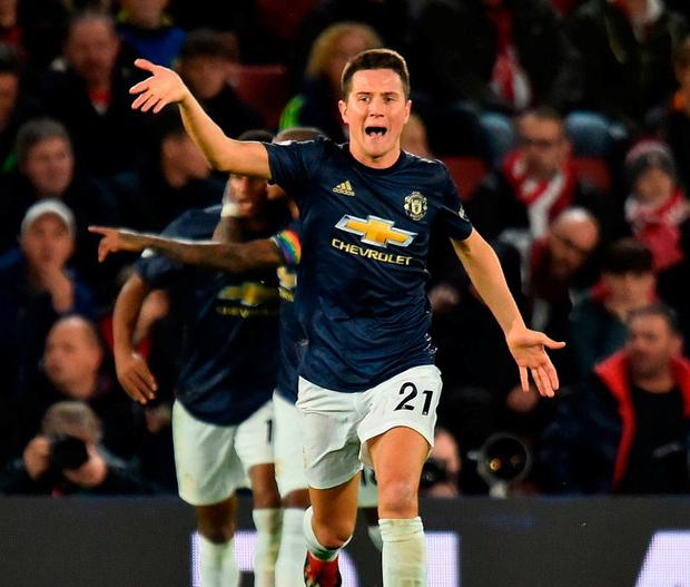 United's Ander Herrera celebrates scoring their equaliser against Southampton. Photo: Glyn Kirk/AFP/Getty Images
