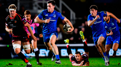 Conor O'Brien on the break for Leinster during Saturday's PRO14 game against Dragons. Photo by Ramsey Cardy/Sportsfile