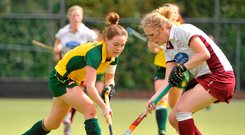 Zara Delany, Railway Union, in action against Hannah Matthews, Loreto Hockey Club. Picture credit: Pat Murphy / Sportsfile