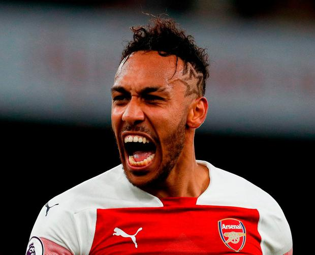 Off to a flyer: Pierre-Emerick Aubameyang scored his ninth and tenth goals of the Premier League season. Photo: Adrian Dennis/AFP/Getty Images