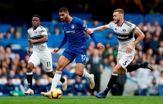 Chelsea's Ruben Loftus-Cheek in action with Fulham's Calum Chambers. Photo: Paul Childs/Action Images via Reuters
