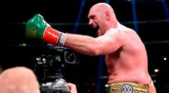 Tyson Fury acknowledges his fans at the end of Saturday's fight in Los Angeles. Photo by Harry How/Getty Images