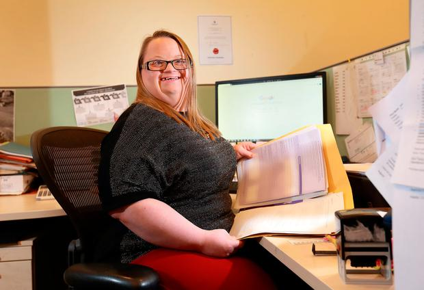 Una Coates from Clondalkin who works for Musgrave, pictured at the Inclusion Ireland offices on Dublin's Foley St. Pic: Frank McGrath