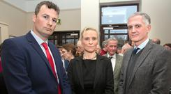 'Crisis': Doctors Andrew O'Regan, Kirsten Fuller and Niall McGuire were among the GPs who walked out of the meeting yesterday. Photo: TONY GAVIN