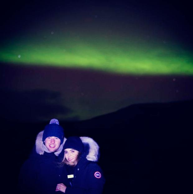 Philly McMahon and Sarah Lacey wrapped up warm in Iceland