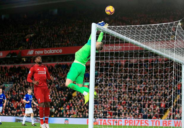 Pickford's save. Photo: Jon Super/AP Photo