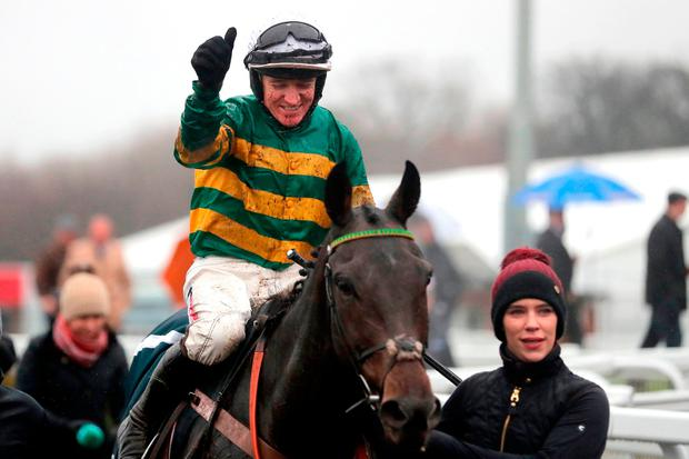 Buveur D'Air and Barry Geraghty after their victory in Saturday's Fighting Fifth Hurdle. Photo credit: Richard Sellers/PA Wire