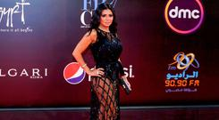 Controversy: Rania Youssef wears the dress at the Cairo International Film Festival last Thursday. Photo: AFP/Getty Images