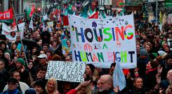 Rally: People taking part in the housing protest in Dublin at the weekend. Photo: PA