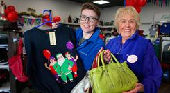 Top shop: Maria Burns (left), manager at the SVP shop in Coolock, and volunteer Ruth Daly. PHOTO: DAMIEN EAGERS/INM