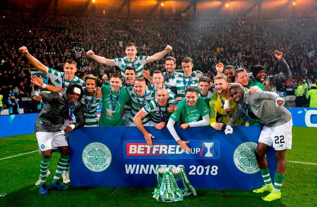 Celtic winners lift the cup during the Betfred Cup Final match at Hampden Park, Glasgow. Photo: Jeff Holmes/PA Wire