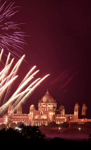 Fireworks explode in the sky over Umaid Bhawan Palace, the venue for the wedding of actress Priyanka Chopra and singer Nick Jonas, in Jodhpur in the desert state of Rajasthan, India, December 1, 2018. REUTERS/Stringer