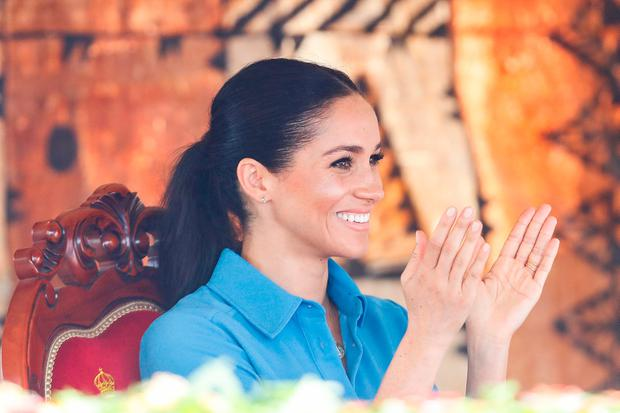 Prince Harry, Duke of Sussex and Meghan, Duchess of Sussex attend Unveiling of The Queen's Commonwealth Canopy at Tupou College on October 26, 2018 in Nuku'alofa, Tonga