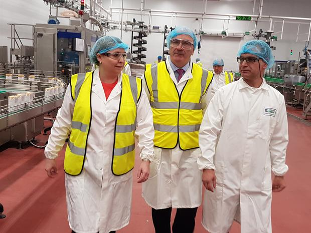 Secretary of State for Northern Ireland Karen Bradley visits Lakeland Dairies in Newtownards.
