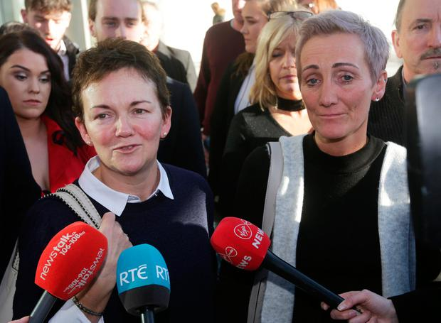 03/12/2018. Sisters, Deirdre Fahy (left) and Stephanie Hickey leave the Central Criminal Court today after the sentencing of Bartholomew Prendergast. Prendergast pleaded guilty to the sexual abuse of both women and was sentenced to ten years in jail. Photo: Laura Hutton/Collins.