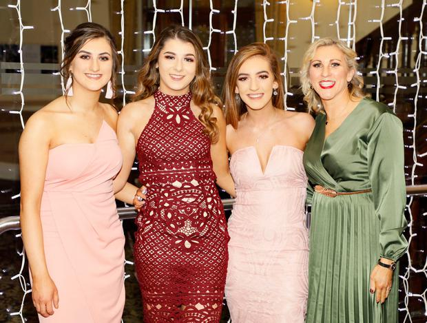 Aoibhín Gannon, Leigh Mullan, Jane O'Dowd and Helen Niland at the TG4 Ladies Football All Stars at the Citywest hotel. Picture: Kieran Harnett