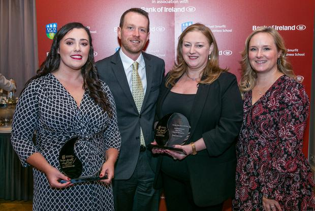 Irish Independent's Amy Molloy who was presented with the Upcoming Business Journalist of the year Award pictured with Irish Independent journalists Shane Phelan, Dearbhail McDonald and Sunday Independent reporter Samantha Mc Caughren who were presented with the Business Story of the year at the UCD Michael Smurfit Business Journalist Awards 2018 in the Westbury Hotel.