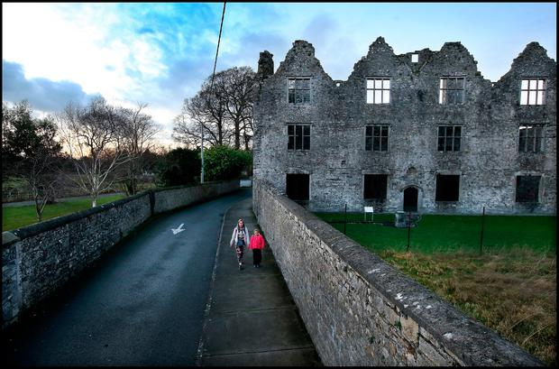 Controversy: The boundary road and wall at Athlumney Castle in Navan. Photo: Steve Humphreys