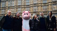 Jerome Flynn, Gizzi Erskine, Leslie Ash, Ciaran McMenamin and the Duchess of Beaufort Tracy Worcester outside the House of Commons in London protesting on behalf of pressure group Farms not Factories against proposed plans for a massive pig farm near Limavady in Northern Ireland.