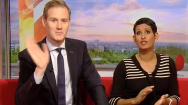 A screen grab of Dan Walker and Naga Munchetty on air (BBC).