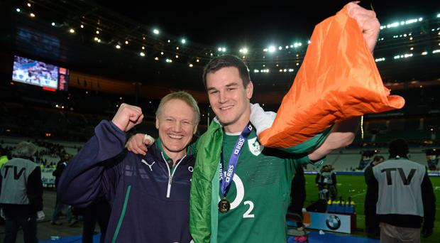 Joe Schmidt and Johnny Sexton celebrate Six Nations success in Paris in 2014