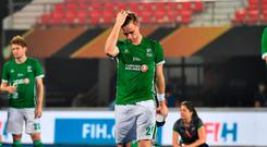 BHUBANESWAR, INDIA - DECEMBER 04: Lee Cole of Ireland walks off disappointed following the FIH Men's Hockey World Cup Pool B match between Ireland and China at Kalinga Stadium on December 4, 2018 in Bhubaneswar, India. (Photo by Charles McQuillan/Getty Images for FIH)
